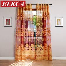 Yellow Sheer Curtains Coffee Yellow Flower Burnout Tulle Curtains For Living Room