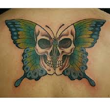 butterfly with skull on back tattooshunt com