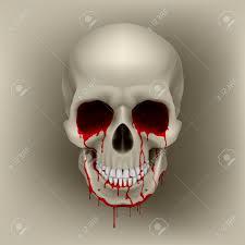 cool bleeding human skull illustration for design royalty free