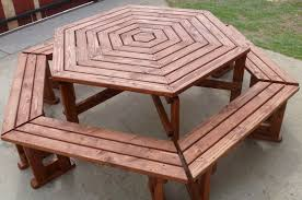 octagon picnic table plans with umbrella hole furniture free picnic table blueprints prices plans download with