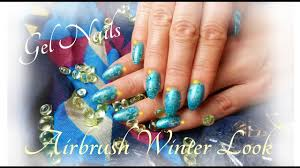 gel nails winter design airbrush schleifen look youtube
