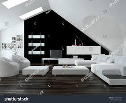 modern design loft living room interior stock illustration