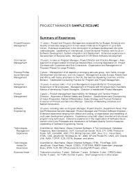 Best Project Manager Resume Sample by Summary Examples For Resume Berathen Com