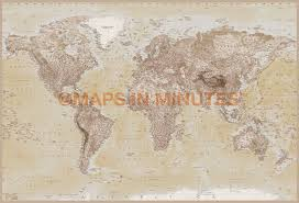 World Map Wallpaper Mural by Neutral Style Map 4 Piece Large Wall Mural Wm 4p