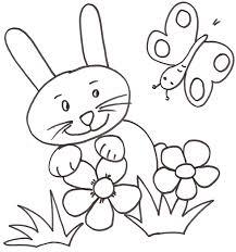 Coloriage du lapin dans les fleurs avec le papillon