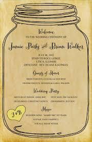 jar wedding programs set of rustic elegance jar wedding programs custom
