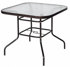 Patio Table With Umbrella Hole Outdoor Round Steel Patio Table Round Metal Outdoor Dining Table