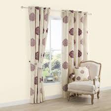 Purple Floral Curtains Lavandula Purple Floral Applique Eyelet Lined Curtains W
