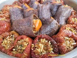 stuffed dried eggplant and pepper dolma kuru patlican dolmasi