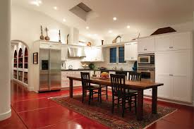Stainless Steel Tables Kitchen Mediterranean With Wooden Dining - Dining table in kitchen