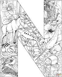 letter n coloring page letter n with animals coloring page free