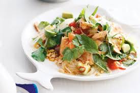 chilli salmon noodle salad with lime and herbs recipes