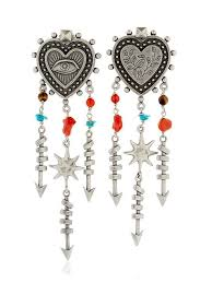 Huge Chandelier Earrings Valentino Ele Valentino Santeria Heart Chandelier Earrings Multi