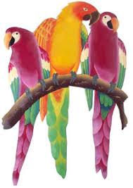 parrot home decor parrots in tropical colors hand painted metal home decor 24 x 16
