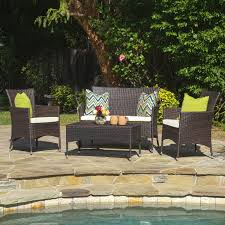 Patio Chairs With Cushions Coral Coast Vega All Weather Wicker 4 Piece Conversation Set With