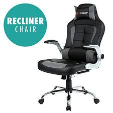 reclining gaming desk chair gtforce blaze reclining leather sports racing office desk chair