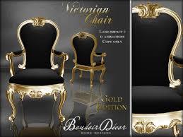 Victorian Armchair Second Life Marketplace Boudoir Victorian Chair Gold Black