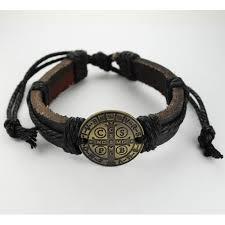 catholic bracelet leather st benedict rope bracelet the catholic company