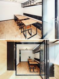 this new coffee shop was inserted in an older apartment building
