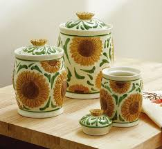 sunflower kitchen canisters ceramic sunflower kitchen canister set collections etc canisters