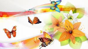 lilies butterflies bright wallpaper nature and landscape