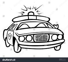 cartoon vector outline illustration police car stock vector