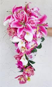 stargazer bouquet touch pink stargazer lilies cascading bouquet