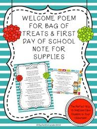 welcome poem for a bag of treats and day welcome note for