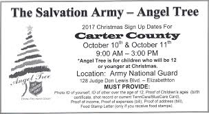 christmas sign ups for the salvation army carter county angel tree