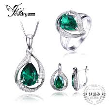 sterling silver rings necklace images Jewepalace water drop created emerald jewelry set 925 sterling jpg