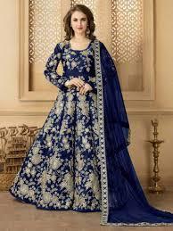 blue color indian pakistani wedding party designer anarkali bollywood