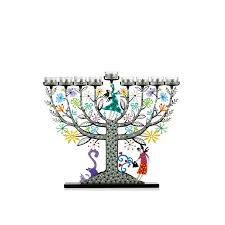 jewish home decor family tree hanukkah menorah green multicolor metal judaica jewish