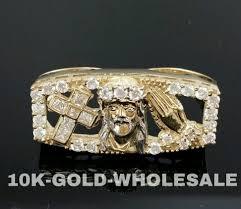 fingers rings gold images New mens 10k yellow gold jesus cross praying hand two finger hip jpg