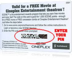 cineplex online scene pin card two free general admission movies from scotiabank