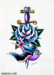swallow rose and dagger tattoo flash art