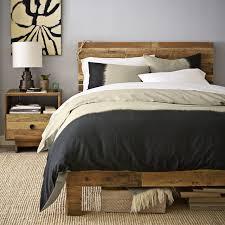 Black Wooden Bed Frames Emmerson Reclaimed Wood Bed West Elm