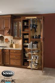 utility storage with pantry pullout and pots pans rack makes