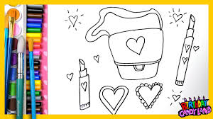 draw color and paint with markers purse lipstick heart coloring