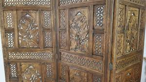 Moroccan Room Divider Vintage Heavy Wooden Carved Indian Moroccan Room Divider