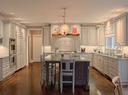 Painted Wooden Kitchen Cabinets Modern L Shaped White Painted Wooden Kitchen Cabinets With Grey