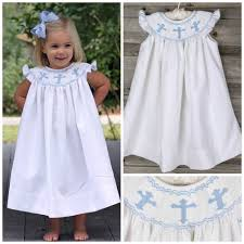 cross smocked dress white pique smocked auctions