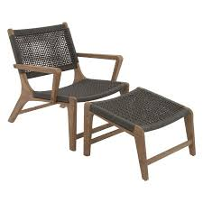 Patio Chair With Ottoman Decmode Great Outdoors Wood Rope Patio Chair With Ottoman