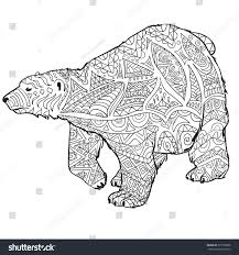 polar bear color page hand drawn coloring pages polar bear stock vector 377558398