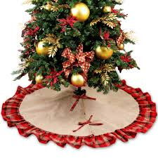 christmas tree skirts ourwarm 48inch plaid christmas tree skirt ruffle edge tree
