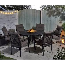catalonia fire pit and ice bucket dining set