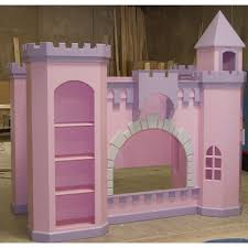 Bunk Bed Castle Pink Purple Wooden Castle Bunk Bed With Racks On The Carpet Of