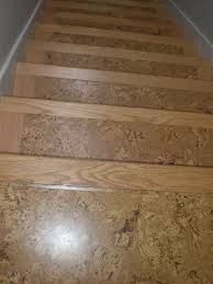 Laminate Flooring Installation On Stairs Cork On Stairs With Wooden Stair Nose Pieces For The Home