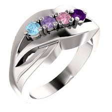 silver mothers ring silver s ring with 4 birthstones