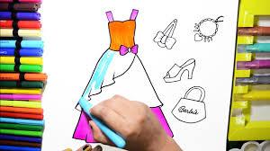 color barbie dress necklace bag sandal hairclip coloring pages