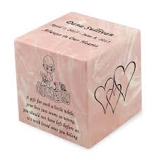 infant urns baby girl pink small cube infant cremation urn engravable
